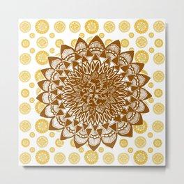 Copper Brown Mandala Over Citrus Mandala Pattern Metal Print