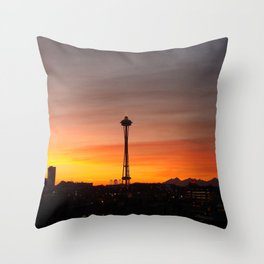 Space needle Sunset Throw Pillow