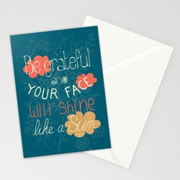 Be grateful Quote Stationery Cards