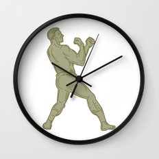 Vintage Boxer Fighting Stance Mono Line Wall Clock