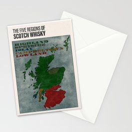 The Five Regions of Scotch Whisky (woodpress) Stationery Cards