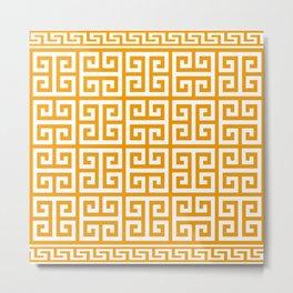 Greek Key (Orange & White Pattern) Metal Print