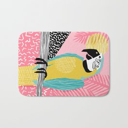 Holy Moly - memphis throwback retro neon bird macaw tropical island pop art bird watching 1980s Bath Mat
