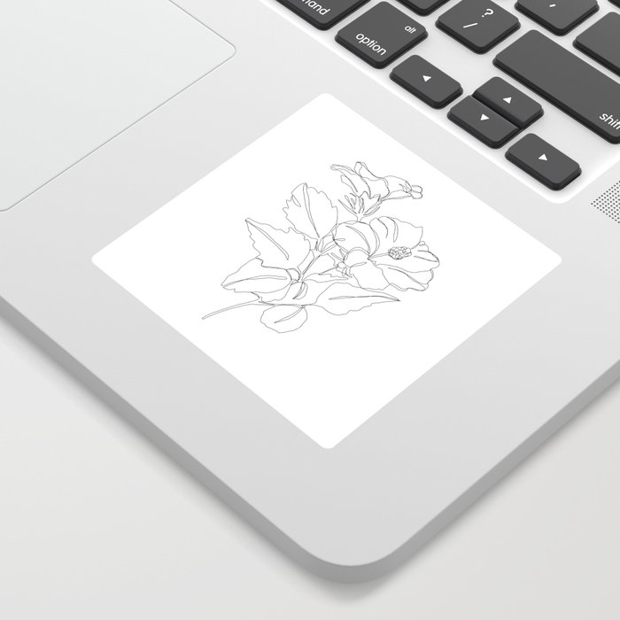 Floral one line drawing - Hibiscus Sticker