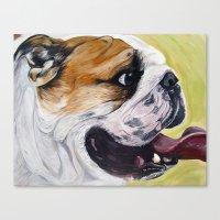 english bulldog Canvas Prints featuring English Bulldog  by WOOF Factory