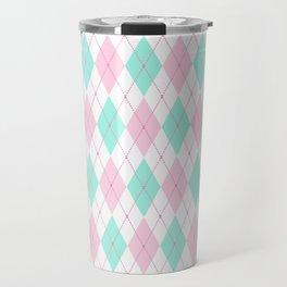 White Pink Green Pastel Argyle Pattern Travel Mug