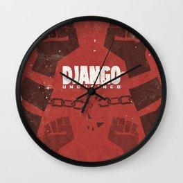 Django Unchained, Quentin Tarantino, minimalist movie poster, Leonardo DiCaprio, spaghetti western Wall Clock