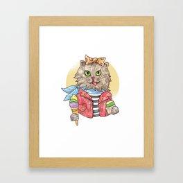 Rockabilly Funny Furry Cat Music Framed Art Print