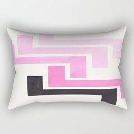 Pink Ancient Aztec Pattern Mid-century Modern Simple Geometric Pattern Watercolor Minimalist Art Squ Rectangular Pillow