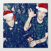 larry stylinson Canvas Prints featuring Larry Stylinson Funny Cookie Christmas by girllarriealmighty