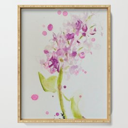 Lilac Sweet Pink Blossom watercolor by CheyAnne Sexton Serving Tray