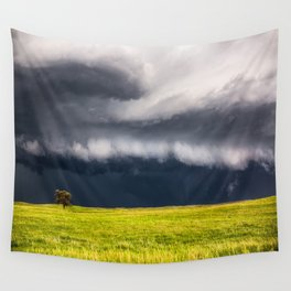 Passing By - Storm and Lone Tree in Nebraska Wall Tapestry