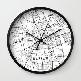 Warsaw Map, Poland - Black and White Wall Clock