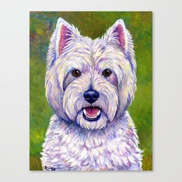Colorful West Highland White Terrier Dog Canvas Print