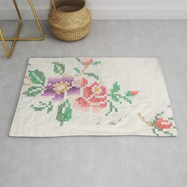 Boho flowers cross stitch Rug