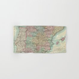 Vintage Map of Spain and Portugal (1801) Hand & Bath Towel