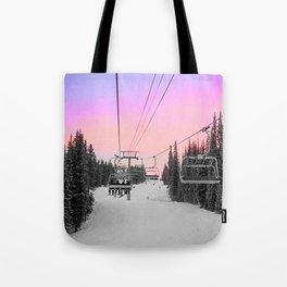 Ski Lift Sunset Shot on iPhone 4 Tote Bag