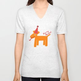 Party Animal-Orange Unisex V-Neck