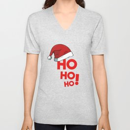 Ho Ho Ho Christmas Xmas Winter Holidays Santa Claus Hat Unisex V-Neck