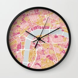Colorful London map Wall Clock