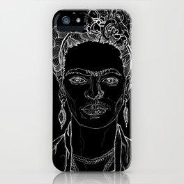 Geometric Black and White Drawing Frida Kahlo iPhone Case