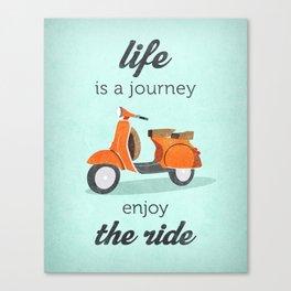 Life is a journey enjoy the ride. Mint vespa print. Mint bike print. Mint inspiring art Canvas Print
