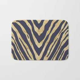 Zebra Stripes in Glam Blue and Gold Bath Mat