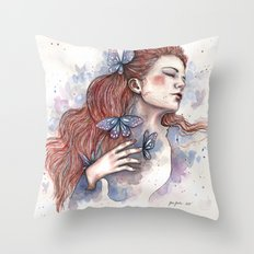 Girl with a butterfly II, watercolor artwork / illustration Throw Pillow