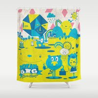 large Shower Curtains featuring Live Large by jumpy