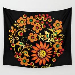 Black floral khokhloma Wall Tapestry