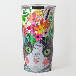 Cat with flowers Travel Mug