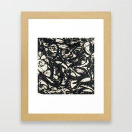 A black and white Jackson Pollock style art digitally vectorised Framed Art Print