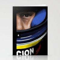 senna Stationery Cards featuring Senna Helmet Portrait by Borja Sanz