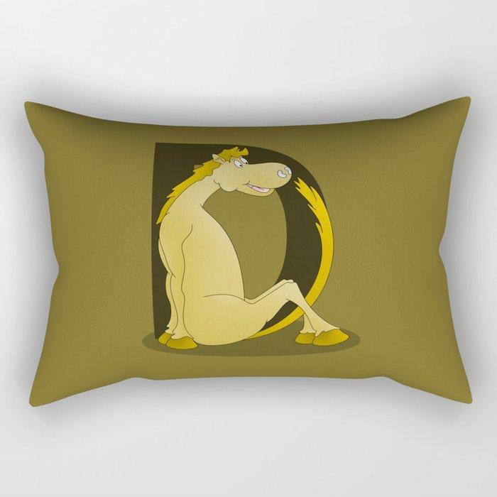 Pony Monogram Letter D Rectangular Pillow