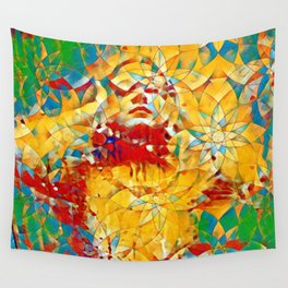 6759s-KMA The Woman in the Stained Glass Sensual Feminine Energy Emerging Wall Tapestry