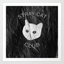 Stray Cat Club Black Background Art Print