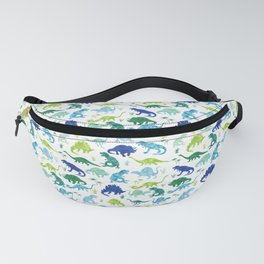 Watercolor Dinosaur Pattern White Green Blue Fanny Pack