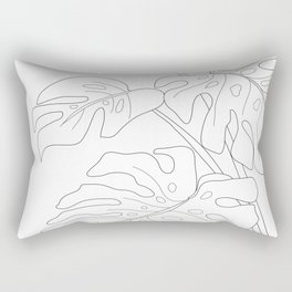 Line Art Monstera Leaves Rectangular Pillow