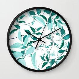 fresh green leaf pattern Wall Clock