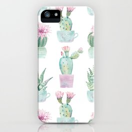 Simply Echeveria Cactus in Pastel Cactus Green and Pink iPhone Case