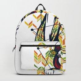 Lovely Girl and Her Golden Apple Backpack