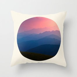 Blue Purple & Pink Mountains Sunset Silhouette Throw Pillow