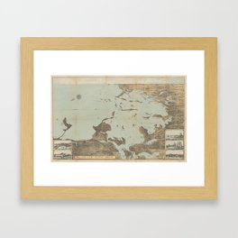 Vintage Pictorial Map of Boston Harbor (1879) Framed Art Print