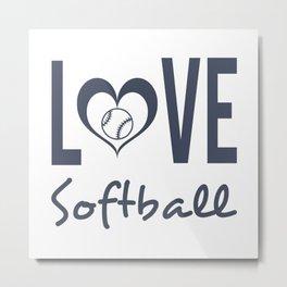 Love Softball (blue) Metal Print
