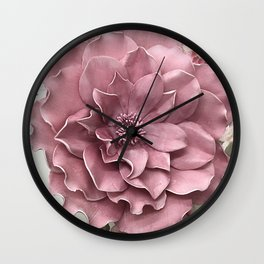Pink Flower Mauve Shabby Chic Large Floral Prints Home Decor  Wall Clock