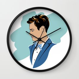 Stylish Men with a neat hairstyle, blazer and bow tie Wall Clock