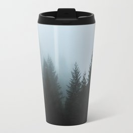 Misty Fog Pine Trees Travel Mug