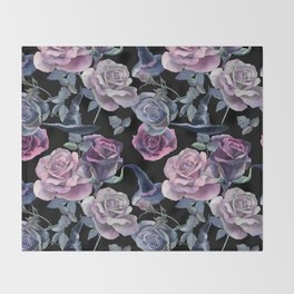 Dark flowers Throw Blanket