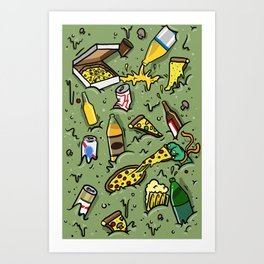 PIZZA AND BEER Art Print