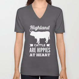 Highland Cattle Are Hippies At Heart Unisex V-Neck